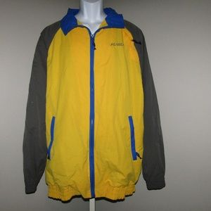 Fubu Track Jacket Vtg Yellow Grey SZ L Windbreaker